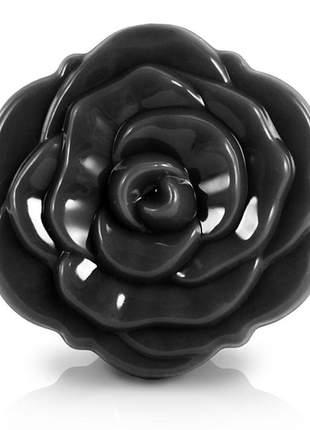 Espelho de bolsa flor preto