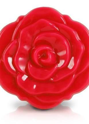 Espelho de bolsa flor vermelho