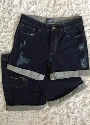 Shorts jeans feminino cintura alta desfiado plus size dardak jeans escuro destroyed