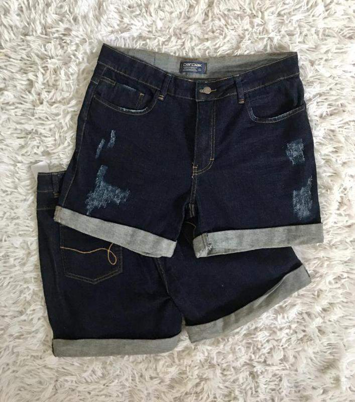 Espaço Modas / Shorts jeans feminino cintura alta desfiado plus size dardak jeans escuro destroyed