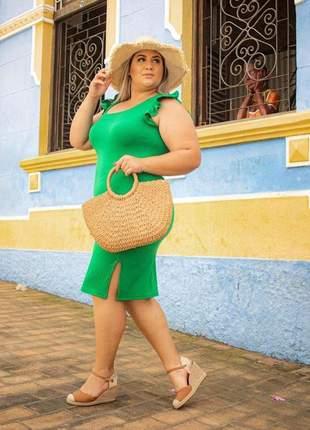 Vestido curto plus size canelado justinho verde