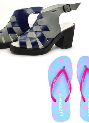 Kit chinelo + sandália couro tratorada avalon darc cores