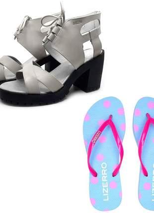 Kit chinelo + sandália couro tratorada avalon pagu cores