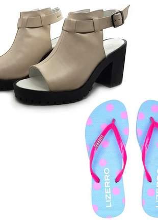 Kit chinelo + sandália couro tratorada avalon quiteria cores