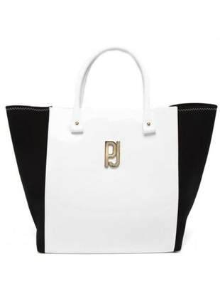 Bolsa petite jolie big shop pj3018 branco/preto