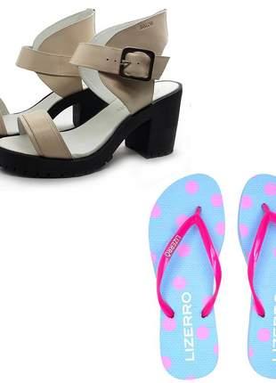 Kit de chinelo + sandália tratorada couro avalon woolf cores