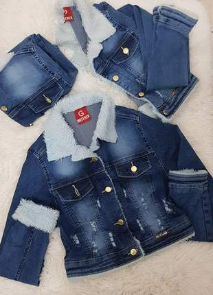 Jaqueta jeans de pelinhos