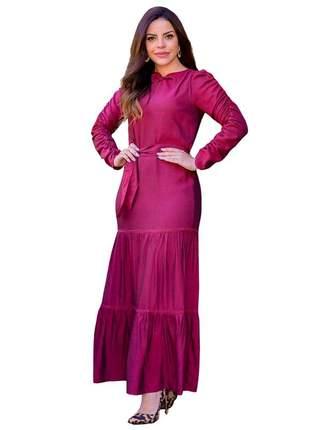 Vestido longo feminino rodado babados joyaly moda evangélica
