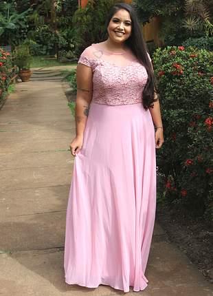 Vestido plus size longo rosê noivas madrinhas casamento moda festa mãe noivos manguinha