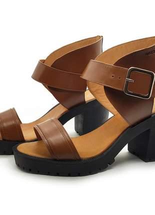 Sandália sola tratorada toda em couro avalon woolf cores