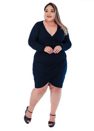 Vestido transpassado plus size malha com forro ref:962 (azul-marinho)