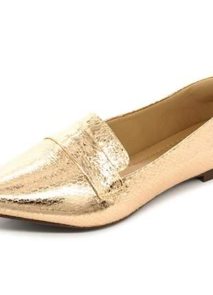 Mocassim sapatilha feminina metalizado cobre