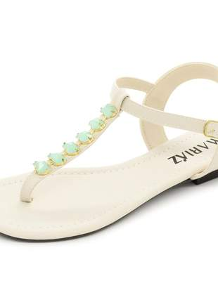 Sandália rasteira branca com pedraria verde confortável moda feminina