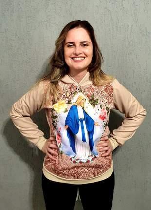 Moletom feminino nossa senhora das graças - capuz e bolso