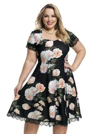 Vestido rodado plus size floral