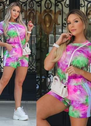 Conjunto tie dye blusinha e shorts - lilás