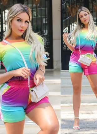 Conjunto tie dye blusinha e shorts - arco íris