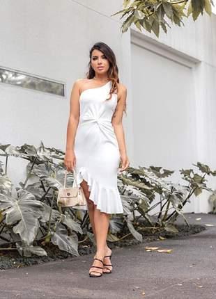 Vestido branco noiva midi casamento civil cartório batizado mini wedding sessão fotos
