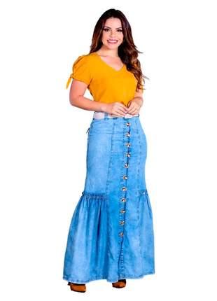 Saia jeans longa botão nesga franzido joyaly moda evangélica