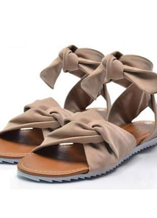 Sandália rasteira stefanello 2111 nobuck nude