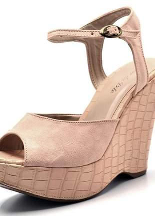 Sandália anabela stefanello 3002 verniz nude