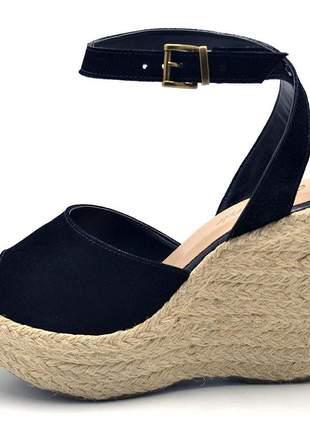 Sandália anabela stefanello 3006 nobucado preto