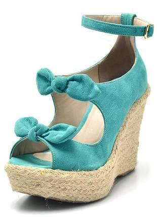 Sandália anabela stefanello 3010 camurçado azulturquesa