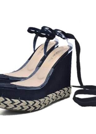 Sandália anabela stefanello 3019 nobucado preto