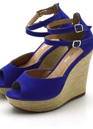 Sandália anabela stefanello 3028 nobucado azul bic