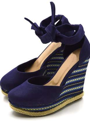 Sandália anabela stefanello 3029 camurçado azul