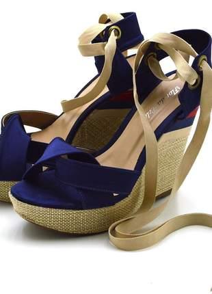 Sandália anabela stefanello 3034 cetim azul