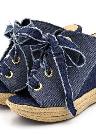 Sandália anabela flor da pele 3061 tecido jeans