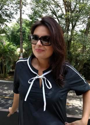 Blusa feminina social manga curta com laço