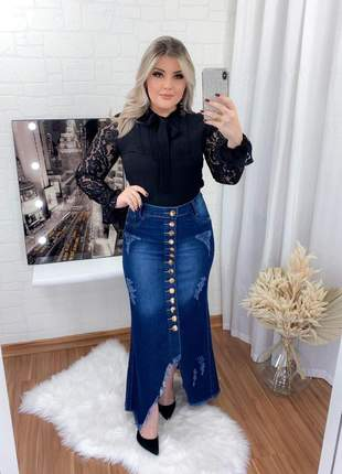 Saia feminina jeans longa destroyed botões moda evangélica