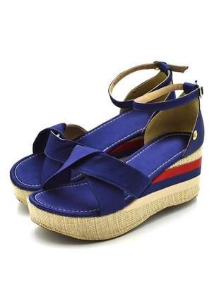 Sandália anabela  salto médio flor da pele 170998 cetim azul