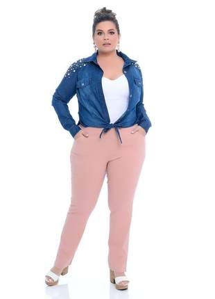 Blusa jeans plus size bordada