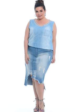 Conjunto plus size jeans blusa gola v +saia mullet