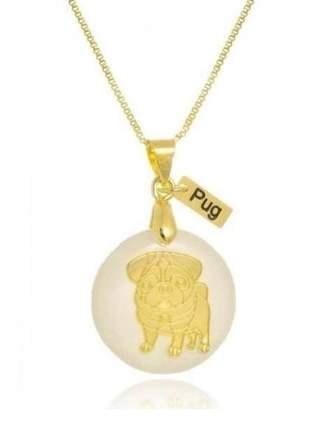 Gargantilha pingente resina cachorro raça pug banho de ouro