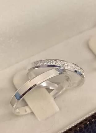 Par de aliança prata 950 4mm -aliança de namoro,compromisso