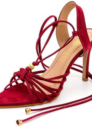 Sandália social bico filho folha vermelha salto alto fino amarrar na perna