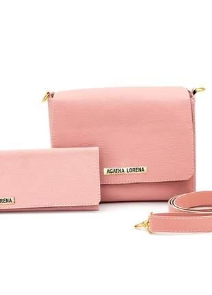 Kit bolsa bau +carteira rosa