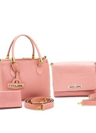 Kit bolsa lorena pequena + bolsa bau + carteira rosa