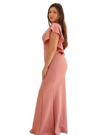 Vestido longo rosê festa madrinha de casamento batizado barato manguinha formatura