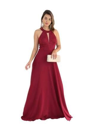 Vestido longo festa madrinha de casamento mãe de noivos formatura rose marsala