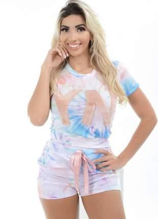 Conjunto shorts e blusa manga princesa tie dye