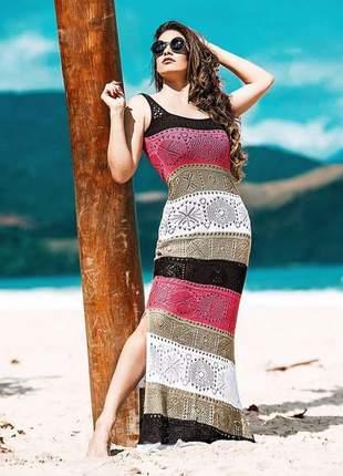 Vestido longo feminino tricot listrado moda instagram verão