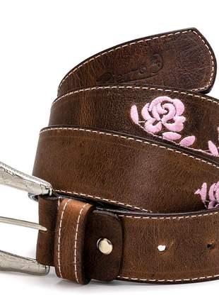 Cinto country pierrô largo couro legítimo cor marrom envelhecido com bordados