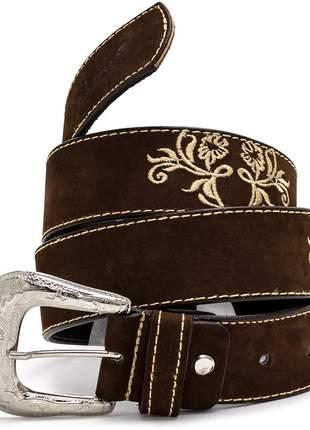 Cinto country pierrô largo couro legítimo cor marrom com bordados