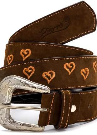 Cinto country pierrô largo couro legítimo cor castor com bordados