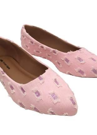 Sapatilha rasteira feminina bico fino confortável jeans rasgado rosa glitter 33 ao 40